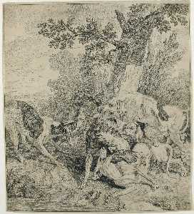 Jean-Baptiste Oudry - A Pack of Dogs Attacking ..