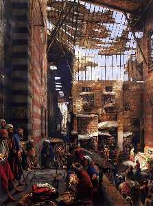 John Frederick Lewis - A View Of The Street And Morque Of Ghorreyah, Cairo