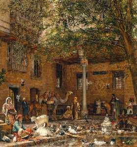 John Frederick Lewis - Study for `The Courtyard ..