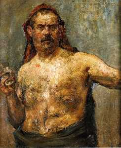 Lovis Corinth (Franz Hein.. - Self Portrait with a Glas..