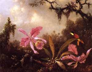 Martin Johnson Heade - Orchids and Crimson Topaz..