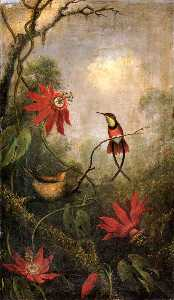 Martin Johnson Heade - Passion Flowers and Hummi..