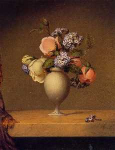 Martin Johnson Heade - Roses and Heliotrope in a..
