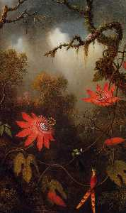 Martin Johnson Heade - Two Hummingbirds Perched ..