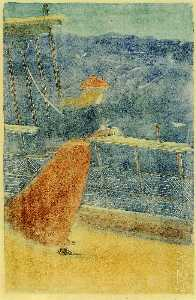 Maurice Brazil Prendergast - Woman on Ship Deck, Looking out to Sea (aka Girl at Ship-s Rail)