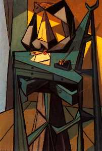 Oscar Dominguez - Woman with Writing Desk