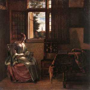 Pieter De Hooch - Woman Reading a Letter