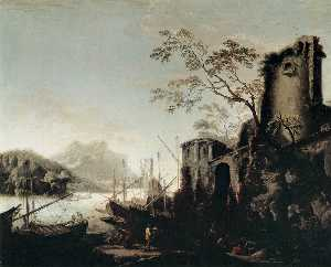Salvator Rosa - Marine Landscape with Tow..
