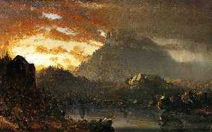 Sanford Robinson Gifford - Sunset in the Wilderness with Approaching Storm (Sketch)