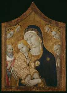 Sano Di Pietro - Virgin and Child with Saints Jerome, Bernardino of Siena, and Angels
