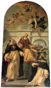 Sebastiano Ricci - Pope Pius V with Saints Thomas Aquinas and Martyr Peter