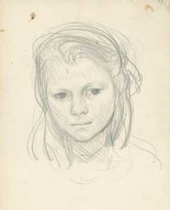 George Clausen - Study of the head of a young girl