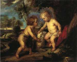 Theodore Clement Steele - The Christ Child and the Infant St. John after Rubens