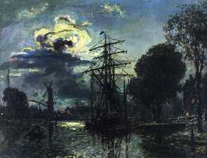 Johan Barthold Jongkind - Canal in the Moonlight