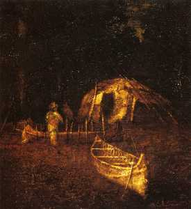 Ralph Albert Blakelock - The Canoe Builders