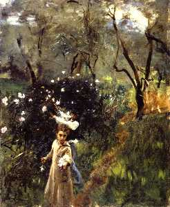 John Singer Sargent - Children Picking Flowers (also known as Gathering Flowers at Twilight)