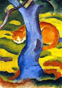 Franz Marc - Children-s Picture (also known as Cat behind a Tree)