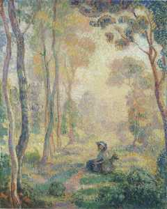 Henri Lebasque - Child with goat in the Pierrefonds Forest