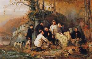 John George Brown - Claiming the Shot - A Group of Portraits after the Hunt in the Adirondacks