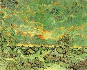 Vincent Van Gogh - Cottages and Cypresses: Reminiscence of the North