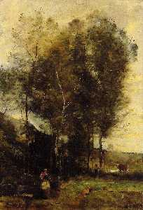 Jean Baptiste Camille Corot - Cowherd in a Dell, Souvenir of Brittany