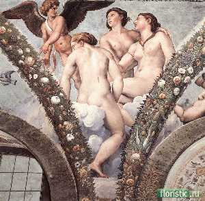 Raphael (Raffaello Sanzio Da Urbino) - Cupid and the Three Graces (Villa Farnesina, Rome)