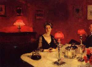 John Singer Sargent - A Dinner Table at Night (also known as Mr. and Mrs. Albert Vickers)