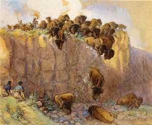 Charles Marion Russell - Driving Buffalo Over the ..