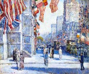 Frederick Childe Hassam - Early Morning on the Avenue in May