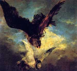Adolph Menzel - Falcon Swooping on a Dove