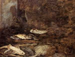 Eugène Louis Boudin - Fish, Skate and Dogfish