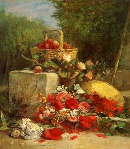 Eugène Louis Boudin - Flowers and Fruit in a Garden