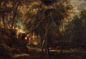 Peter Paul Rubens - Forest Landscape at the Sunrise