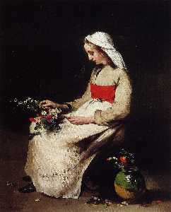 Théodule Augustin Ribot - Girl Arranging a Vase of ..