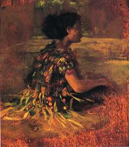 John La Farge - Girl in Grass Dress (also known as Seated Samoan Girl)