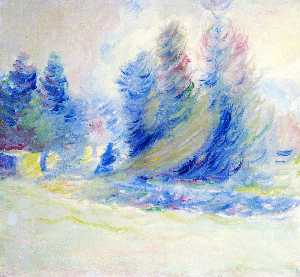 Theodore Earl Butler - Giverny Trees, Wind, and Snow