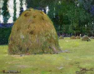 Theodore Wendel - Haystacks in Giverny, Fra..