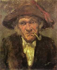 James Abbott Mcneill Whistler - Head of an Old Man Smoking