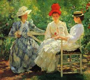 Edmund Charles Tarbell - In a Garden (also known a..