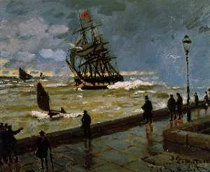 Claude Monet - The Jetty of Le Havre in Rough Weather