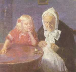 Anna Kirstine Ancher - Keeping Grandma Company (also known as Grandmother Is Maintained)