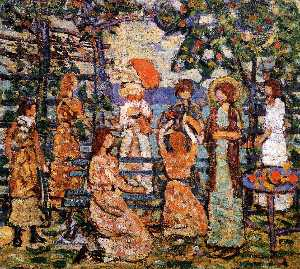 Maurice Brazil Prendergas.. - Ladies in a Seaside Arbor
