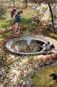 Adolph Menzel - Lady Walking by a Fountain in the Kissingen Spa Garden