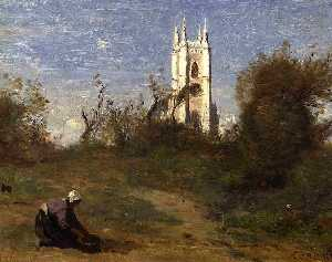 Jean Baptiste Camille Corot - Landscape with a White Tower, Souvenir of Crecy