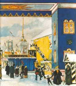 Alexandre Benois - Pancake Day in St.Petersburg. Fragment. Set Design