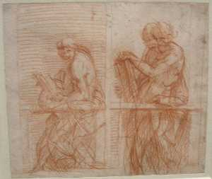 Andrea Del Sarto - Study of the Figures behind a Balustrade