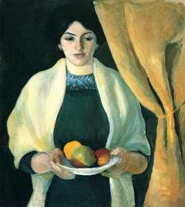 August Macke - Portrait with apples (Portrait of the Artist-s Wife)
