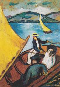 August Macke - Sailing boat on the Tegernsee