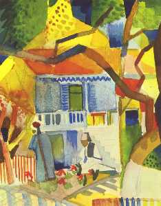 August Macke - Inner courtyard of house in St. Germain