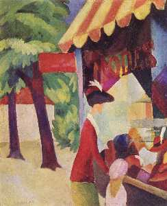 August Macke - In front of the hat shop (woman with red jacket and child)